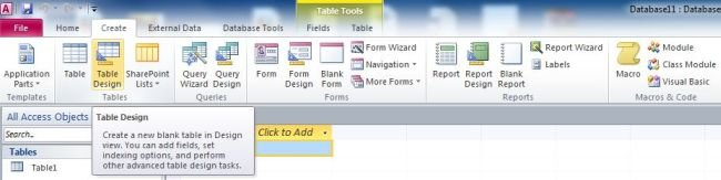 Create a table starting in design view in access 2010 for Table design view access