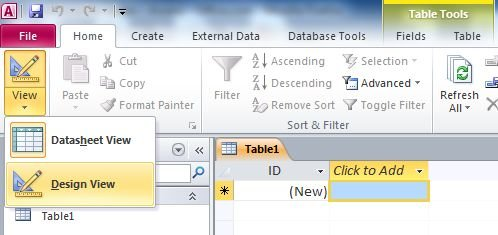 Set or change the primary key in access 2010 for Table design grid access