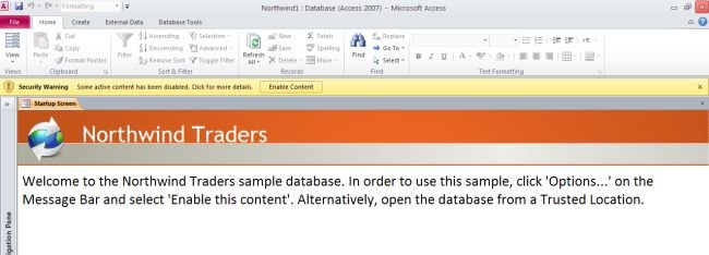 Use the Northwind Database In Access 2010