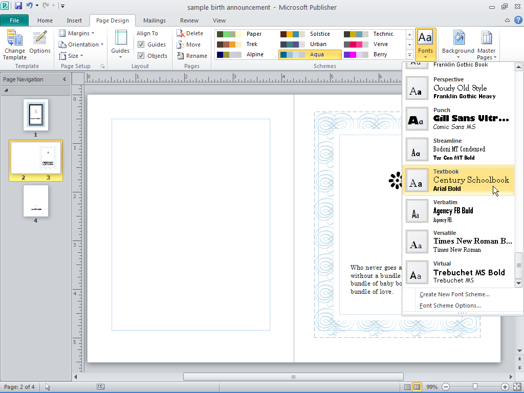 Page Design Using Font Scheme In Publisher 2010