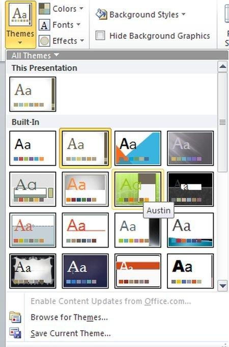 How to apply multiple themes in a presentation of PowerPoint2010