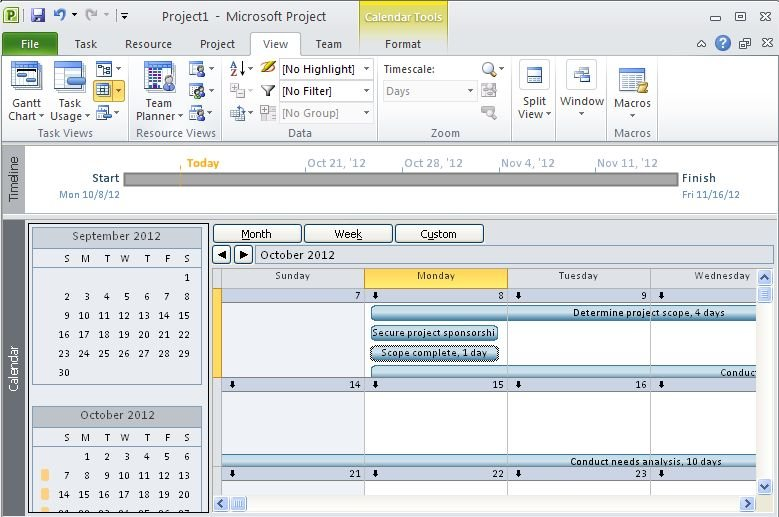 Change the timescale in calendar view in project 2010 for Microsoft viewer project 2010