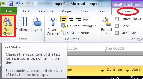 select-text-style-tab-in-project 2010.jpg