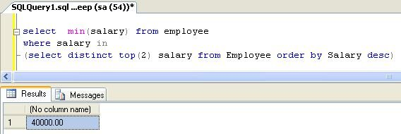 sql query to find 2nd maximum salary