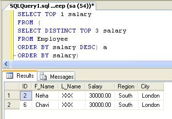 SQL query for find second highest salary of employee?