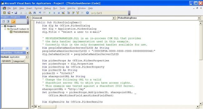 Outlook PickerDialog Method in MS Outlook 2010 to Access a