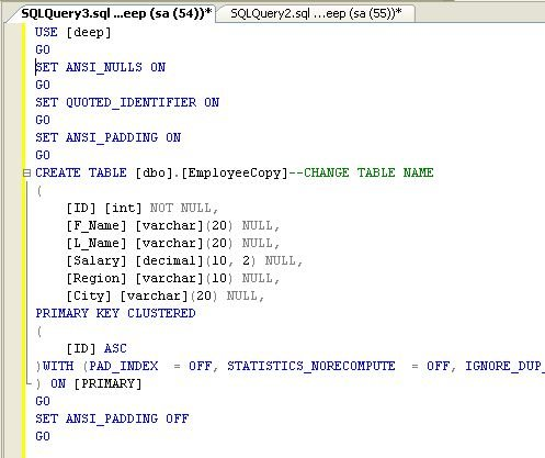 how to create table in sql server 2008 using query