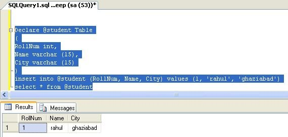 Table variable in sql server 2008 for Table variable in sql server