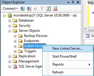 Create Linked Server Using SQL Server Management Studio